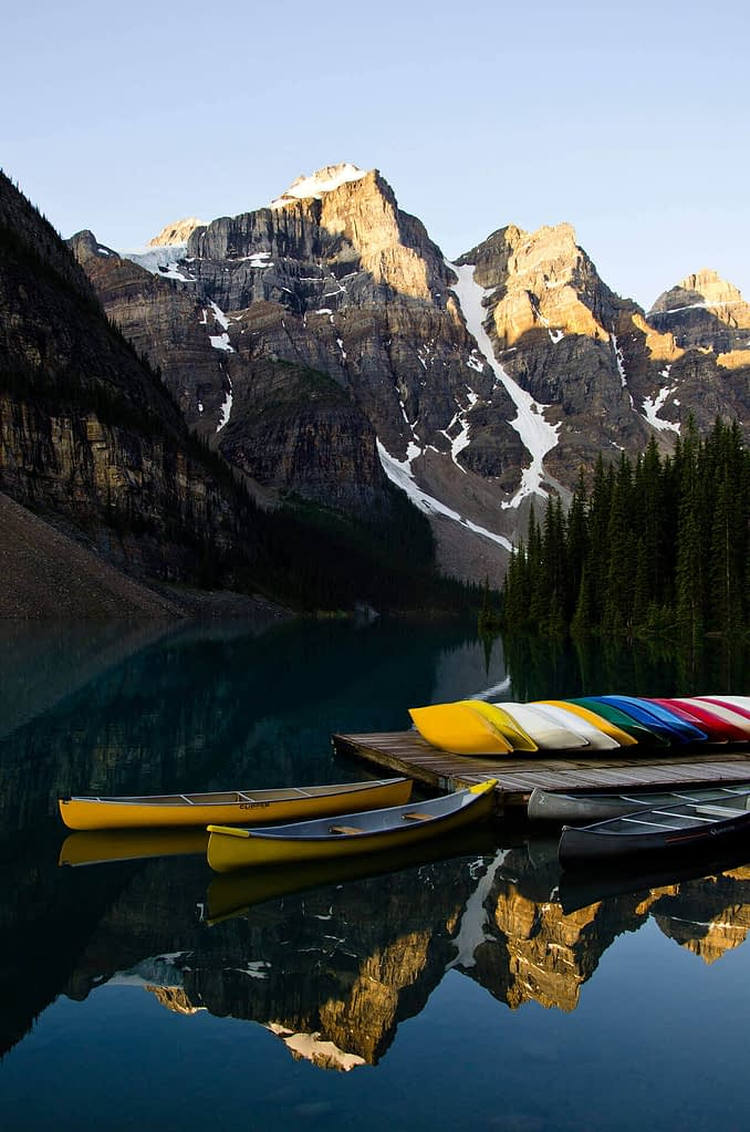 Canoes at Morraine Lake